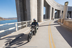 Erik Bahl of Alabama rides his 7 hp 61-cubic inch 1915 Harley-Davidson Model F as he crosses the Parker Dam over the Colorado River during the Motorcycle Cannonball Race of the Century. Stage-14 ride from Lake Havasu CIty, AZ to Palm Desert, CA. USA. Saturday September 24, 2016. Photography ©2016 Michael Lichter.