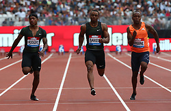 July 21, 2018 - London, United Kingdom - L-R Michael Rogers Ronnie Baker of USA and Akani Simbine of South Africa compete in the 100m Men Heat B.during the Muller Anniversary Games IAAF Diamond League Day One at The London Stadium on July 21, 2018 in London, England. (Credit Image: © Action Foto Sport/NurPhoto via ZUMA Press)