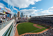 A general view of Target Field after Minnesota Twins left fielder Josh Willingham hit a home run in Minneapolis, Minnesota on April 9, 2012.  The Angels defeated the Twins 5 to 1.