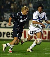 Fotball<br />Argentina<br />08/11/03 QUILMES (0 ) Vs. VELEZ SARSFIELD (1 ). Football - Bs. As. - Argentina. Fourteenth match of the Torneo Apertura 2003.<br />GARNIER (QUILMES) and GUTIERREZ (VELEZ)<br />Foto: Digitalsport