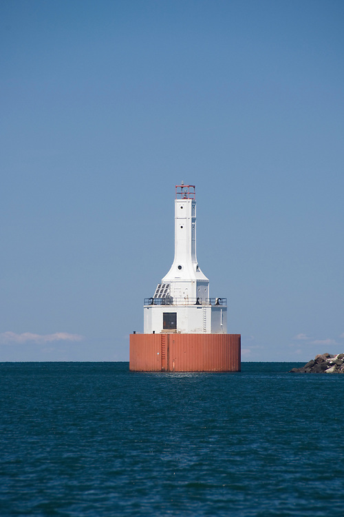 The Upper Portage Entry Lighthouse at McLain State Park near Houghton Michigan.