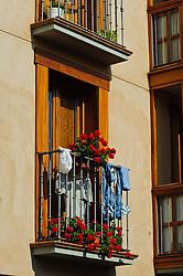 Colourful balcony in a house in Vitoria Gasteiz, Spain<br /> <br /> (c) Andrew Wilson | Edinburgh Elite media