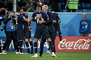 France head coach Didier Deschamps and Kylian Mbappe celebrate after winning the 2018 FIFA World Cup Russia, Semi Final football match between France and Belgium on July 10, 2018 at Saint Petersburg Stadium in Saint Petersburg, Russia - Photo Thiago Bernardes / FramePhoto / ProSportsImages / DPPI