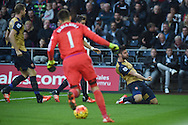 Olivier Giroud of Arsenal ® celebrates after he scores his teams 1st goal.  Barclays Premier league match, Swansea city v Arsenal  at the Liberty Stadium in Swansea, South Wales  on Saturday 31st October 2015.<br /> pic by  Andrew Orchard, Andrew Orchard sports photography.