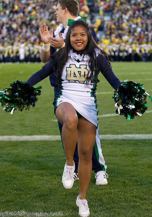 September 22, 2012:  Notre Dame cheerleader Anne Robles performs during NCAA Football game action between the Notre Dame Fighting Irish and the Michigan Wolverines at Notre Dame Stadium in South Bend, Indiana.  Notre Dame defeated Michigan 13-6.
