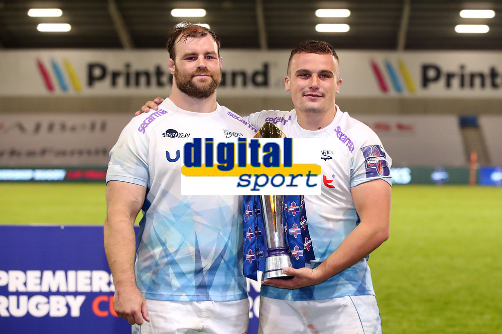 Rugby Union - 2019 / 2020 Premiership Rugby Cup - Final - Sale Sharks vs Harlequins<br /> <br /> Curtis Langdon and WillGriff John of Sale Sharks with the Premiership Cup trophy after victory in the Premiership Rugby Cup Final, at the A J Bell Stadium.<br /> <br /> COLORSPORT/PAUL GREENWOOD