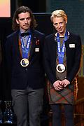 Officiele Huldiging van de Olympische medaillewinnaars Sochi 2014 / Official Ceremony of the Sochi 2014 Olympic medalists.<br /> <br /> Op de foto: Carien Kleibeuker en Bob de Jong