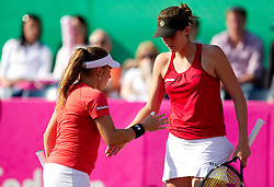 Sharon Fichman and Rebecca Marino of Canada during doubles against  Katarina Srebotnik and Polona Hercog of Slovenia at the second day of the tennis Fed Cup match between Slovenia and Canada at Bonifika, on April 17, 2011 in Koper, Slovenia.  (Photo by Vid Ponikvar / Sportida)