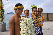 Welcome ceremony, Polynesian dancer, Takapoto, Tuamotu Islands, French Polynesia, (Editorial use only)<br />