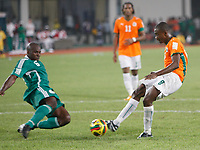 Photo: Steve Bond/Richard Lane Photography.<br />Nigeria v Ivory Coast. Africa Cup of Nations. 21/01/2008. Salomon Kalou (R) shoots and scores