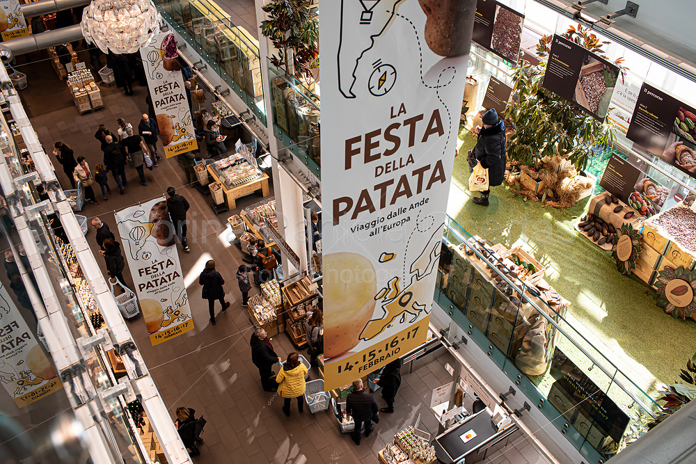 Interior of Eataly food hall in Rome.