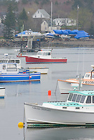 Lobster boats moored in Bass Harbor, Mount Desert Island Maine, USA