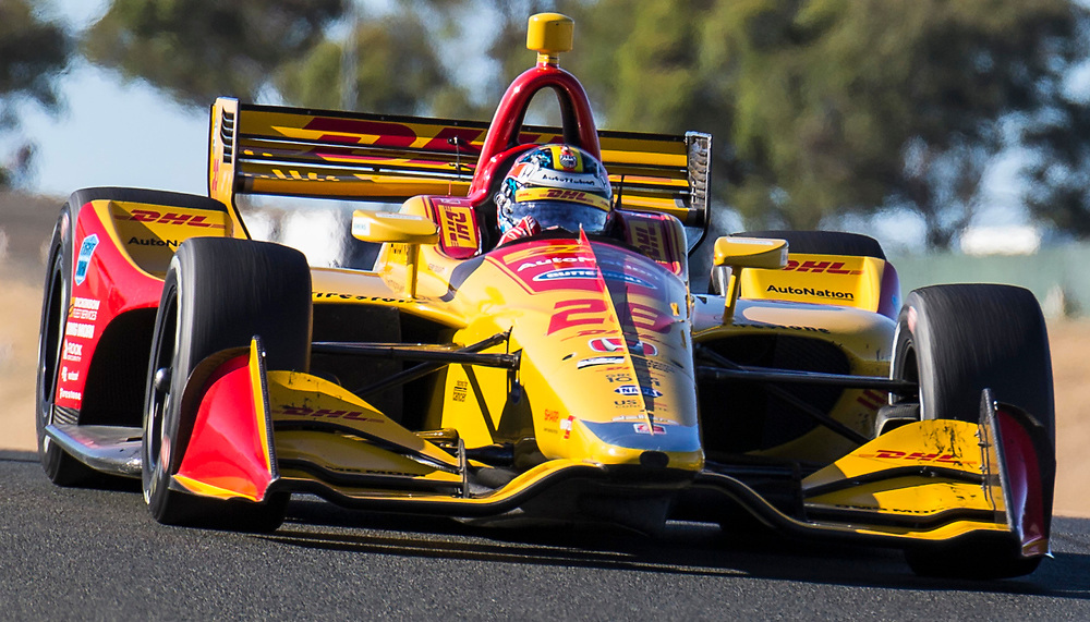 SEPT 16, 2018 Sonoma, CA, U.S.A :  Andretti Autosport driver Ryan Hunter-Reay (28) of United States takes a 1st place win coming out of turn 5 during the GoPro Grand Prix of Sonoma Verizon Indycar Championship at Sonoma Raceway Sonoma, CA  Thurman James / CSM