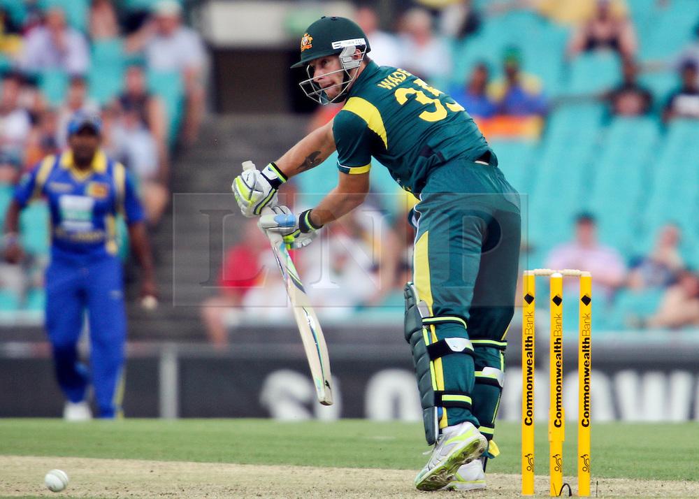 © Licensed to London News Pictures. 17/02/2012. Sydney Cricket Ground, Australia. Matthew Wade glides the ball to point during the One Day International cricket match between Australia Vs Sri Lanka. Photo credit : Asanka Brendon Ratnayake/LNP