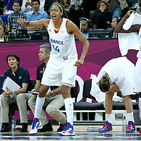 07 August 2012: France Emmeline Ndongue reacts during 71-68 Team France victory over Team Czech Republic, during the women's basketball quarter-finals, at the Basketball Arena, in London, Great Britain.