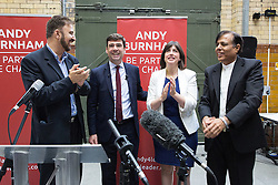 © Licensed to London News Pictures . 17/08/2015 . Manchester , UK . L-R AFZAL KHAN MEP ,  ANDY BURNHAM MP , LUCY POWELL MP and DR KAILISH CHAND after Andy Burnham delivers a speech at the People's History Museum in Manchester this morning (Monday 17th August 2015) . Photo credit : Joel Goodman/LNP