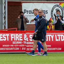 31JUL21 Partick Thistle's manager Ian McCall and Queen of the South's Willie Gibson at the end. Partick Thistle 3 v 2 Queen of the South. First Scottish Championship game of the season.