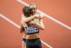 Winner Cindy Roleder of Germany and Ricarda Lobe of Germany celebrate after the 60m Hurdles Women Final on day one of the 2017 European Athletics Indoor Championships at the Kombank Arena on March 3, 2017 in Belgrade, Serbia. Photo by Vid Ponikvar / Sportida