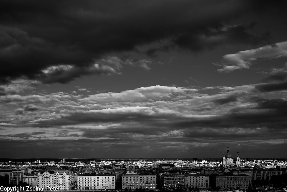 Clouds above Budapest from the Castle of Buda in Budapest, Hungary