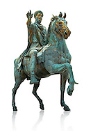 Original Roman bronze statue of Emperor Marcus Aurelius on horseback. 175 AD. Marcus Aurelus was the last of the Five Good Emperors, and is also considered one of the most important Stoic philosophers. In 1979 it was discovered that the the equestrian statue of Marcus Aurelius, in the courtyard of the Capitline Museum, had suffered badly from corrosion, particularly in its legs. The staue was removed from Michael Angelo's plinth and was transferred to the National Instution for the Restoration of works of art for preservation. On the 11th of April 1990 the restored statue was returned to the Cpitaline courtyard and covered with a glass protective casing. The glass box ruined the design of Michael Angelo's courtyard and it was decided to make a copy to display in the courted and move the original into the Capitoiline Musuem. This is a rare example of a bronze equestrian statue as it became common practice for the Romans in the late empire to melt down bronze statues to mint coins. The Capitoline Museums, Rome ..<br /> <br /> If you prefer to buy from our ALAMY STOCK LIBRARY page at https://www.alamy.com/portfolio/paul-williams-funkystock/greco-roman-sculptures.html . Type -    Capitoline    - into LOWER SEARCH WITHIN GALLERY box - Refine search by adding a subject, place, background colour, etc.<br /> <br /> Visit our ROMAN WORLD PHOTO COLLECTIONS for more photos to download or buy as wall art prints https://funkystock.photoshelter.com/gallery-collection/The-Romans-Art-Artefacts-Antiquities-Historic-Sites-Pictures-Images/C0000r2uLJJo9_s0