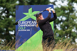 Gleneagles, Scotland, UK; 10 August, 2018.  Day three of European Championships 2018 competition at Gleneagles. Men's and Women's Team Championships Round Robin Group Stage. Four Ball Match Play format.  Pictured; Marion de Roey of Belgium on 8th tee in match against Great Britain.