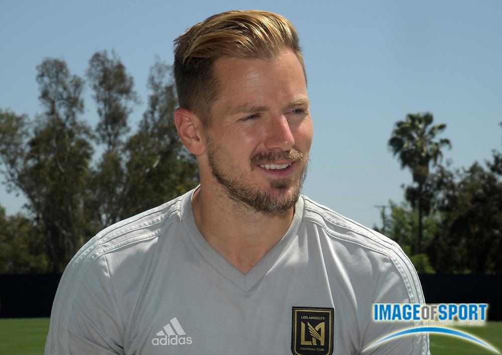 Apr 10, 2018; Los Angeles, CA, USA; LAFC defender Jordan Harvey at practice at Cal State LA.
