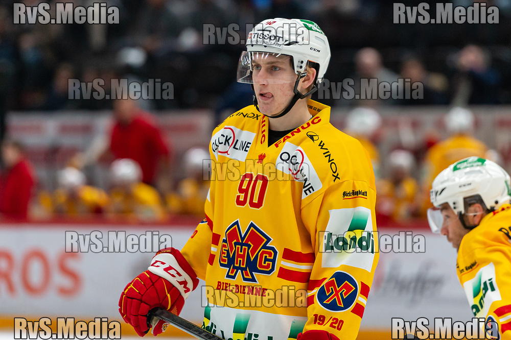 LAUSANNE, SWITZERLAND - NOVEMBER 15: #90 Janis Moser of EHC Biel looks on during the Swiss National League game between Lausanne HC and EHC Biel-Bienne at Vaudoise Arena on November 15, 2019 in Lausanne, Switzerland. (Photo by Monika Majer/RvS.Media)