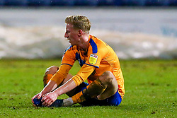 Harry Charsley of Mansfield Town cuts a dejected look at full time - Mandatory by-line: Ryan Crockett/JMP - 17/02/2021 - FOOTBALL - One Call Stadium - Mansfield, England - Mansfield Town v Bolton Wanderers - Sky Bet League Two
