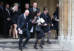 Ross Wilkins, Jade Wilkins and Jackie Wilkins, family of Ray, outside St Luke's and Christ Church, London, where the memorial service for former Chelsea player Ray Wilkins is being held. Wilkins, who began an impressive playing career at Stamford Bridge and also later coached them, died aged 61 following a cardiac arrest.