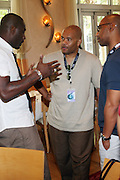 24 June 2010- Miami Beach, Florida- l to r: Idris Elba, Jeff Clanagan and Quincy Newell at the The 2010 American Black Film Festival Founder's Brunch held at Emeril's on June 24, 2010. Photo Credit: Terrence Jennings/Sipa