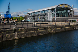 Cardiff, UK. 2nd May, 2017. The Techniquest science and discovery centre is viewed across Mount Stuart graving docks close to Cardiff Bay.