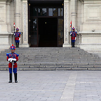 South America, Peru, Lima. Guards at the Government Palace of Peru, also known as House of Pizarro.
