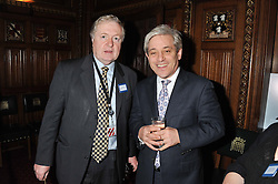 Left to right, SIR IAN BLAIR and The Speaker of The House of Commons JOHN BERCOW at a reception for the Stephen Lawrence Charitable Trust hosted by the Speaker of The House of Commons John Bercow and supported by law firm Freshfields Bruckhaus Deringer in The State Rooms, Speaker's House, the House of Commons, London on 19th December 2012.