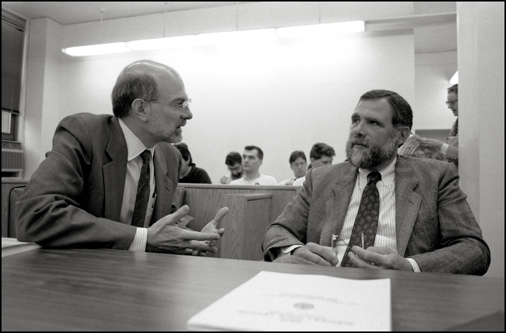 Mike Spiegel, one of the defense attorneys, speaking to former Health Commissioner, Dr. Stephen C. Joseph at the needle exchange trial in April of 1991, in New York City.<br /> <br /> The defendants, Gregg Bordowitz, Velma Campbell, Cynthia Cochran, Richard Elovich, Phillip Flores, Debra Levine, Kathryn Otter, Jon Stuen Parker, Monica Pearl and Dan Keith Williams were arrested on March 6, 1990 after they set up a table in Lower Manhattan and tried to give clean hypodermic needles to drug addicts to prevent them from getting AIDS. Most of the eight defendants were members of ACT UP (AIDS Coalition to Unleash Power).<br /> <br /> During the six-day trial, which took place in April of 1991, the former Health Commissioner, Dr. Stephen C. Joseph, who started the pilot needle-exchange program, testified in behalf of the defendants.