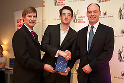 The Law Society of Ireland .JUSTICE MEDIA AWARDS, THURSDAY 7th JUNE 2012 ..The Law Society of Ireland has today (Thursday, 7th June, 2012) announced the winners of its annual Justice Media Awards 2012. ..These awards, which are 20 years in existence, focus on published works or broadcasts that have helped to inform and educate Irish citizens on the role of law in society. The aim is to give national recognition to published works or broadcasts that: ..1).Promote the highest standards in legal journalism;.2).Foster greater public understanding of the law, the legal system or any specific legal issue;.3).Inform and educate citizens as to the roles in society of the law, the courts, law enforcement agencies and the legal profession;.4).Disclose practices or procedures needing reform so as to encourage the development and modernisation of Irish laws, courts and law enforcement agencies; and/or.5).Assist the legal profession, the judiciary, and all others involved in the administration of justice in attaining the highest professional standards. ..The Law Society wholeheartedly congratulates all of today's winners of 'Justice Media Awards' and 'Certificates of Merit'. .JUSTICE MEDIA AWARD - 'TELEVISION FEATURES AND DOCUMENTARIES'..The winners of the Justice Media Award in the 'Television Features & Documentaries' category are Ian Kehoe (reporter) and John Corcoran (producer) of RTÉ's Prime Time for their report: 'The indebted'. ..Pictured at the awards.Ken Murphy, Ken Murphy, Director General of the Law Society of Ireland..Ian Kehoe (reporter) winners of the Justice Media Award in the 'Television Features & Documentaries' category.President of Law Society of Ireland, Donald Binchy....What the judges said: .?This stand-out entry investigated the legal dispute between Anglo Irish Bank (now IRBC) and the Quinn family in the largest Commercial Court case involving an Irish company. Despite the huge legal complexities of the case that meandered between six international jurisd