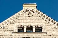 Art Nouveau details on the facade of the Neiburgs Hotel. Riga, Latvia © Rudolf Abraham