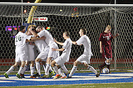 Fort Ann's  Seth Godfrey starts to kick the ball out of the goal as Chazy players celebrate after scoring in the second overtime periold to defeat Fort Ann 2-1 in the Class D state semifinals at Faller Field in Middletown on Saturday, Nov. 16, 2013. (Tom Bushey – Special to The Post-Star)