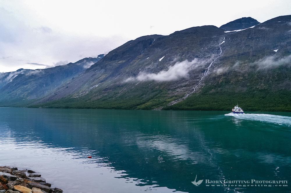 Norway, Jotunheimen. Gjende Lake. The passenger boat Gjendine at Gjendebu.