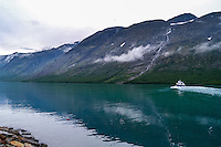 Norway, Jotunheimen. Gjende Lake. The passenger boat Gjendine at Gjendebu.