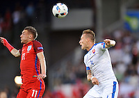 2016.06.20 Saint Etienne<br /> Pilka nozna Euro 2016<br /> mecz grupy B Slowacja - Anglia<br /> N/z Jamie Vardy Jan Durica<br /> Foto Norbert Barczyk / PressFocus<br /> <br /> 2016.06.20 Saint Etienne<br /> Football UEFA Euro 2016 group B game between Slovakia and England<br /> Jamie Vardy Jan Durica<br /> Credit: Norbert Barczyk / PressFocus