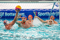 Jorn Winkelhorst of the Netherlands in action against Ante Vukicevic of Croatia during the Olympic qualifying tournament. The Dutch water polo players are on the hunt for a starting ticket for the Olympic Games on February 15, 2021 in Rotterdam
