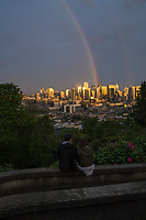 Seattle Skyline with Rainbow & Golden Glow