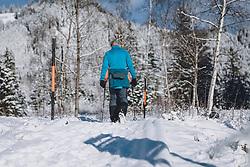 THEMENBILD - Wanderer gehen durch die winterlich, verschneite Landschaft bei Sonnenschein. Das Naturdenkmal Wasenmoos lädt auch im Winter zu ausgedehnten Wanderungen in den Kitzbüheler Alpen ein, aufgenommen am 21. November 2020 in Mittersill, Oesterreich // Hikers walk in the wintery, snowy landscape in sunshine. The natural monument Wasenmoos invites you also in winter to extensive hikes in the Kitzbüheler Alps, in Mittersill, Austria on 2020/11/21. EXPA Pictures © 2020, PhotoCredit: EXPA/Stefanie Oberhauser