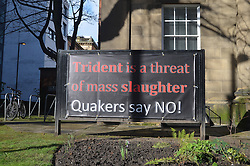 Anti Trident poster, Quaker meeting house, Manchester March 2016