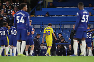 AFC Wimbledon midfielder Anthony Wordsworth (40) walking off after red card during the EFL Trophy match between U21 Chelsea and AFC Wimbledon at Stamford Bridge, London, England on 4 December 2018.