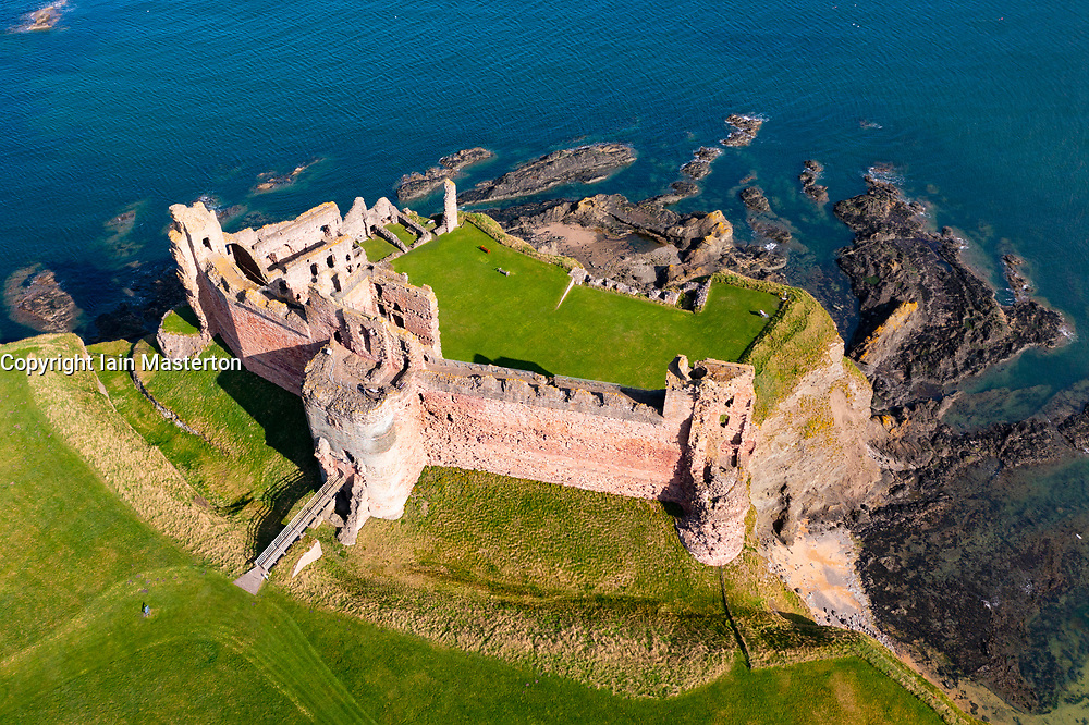 Aerial view of Tantallon Castle on cliffs above Firth of Forth in East Lothian, Scotland, UK