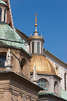 The golden dome of the Sigismund's Chapel in the Wawel Cathedral in Krakow Poland