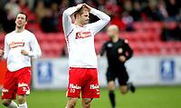 Fotball , <br /> Adeccoligaen , <br /> Fredrikstad Stadion , <br /> 04.04.2010 , <br /> Fredrikstad v Alta , <br /> Mattias Andersson fortviler over å ha misset på en mulighet til å score ,<br /> Foto: Thomas Andersen / Digitalsport ,