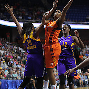 UNCASVILLE, CONNECTICUT- JULY 15:  Camille Little #2 of the Connecticut Sun is defended by Nneka Ogwumike #30 of the Los Angeles Sparks as she drives to the basket  during the Los Angeles Sparks Vs Connecticut Sun, WNBA regular season game at Mohegan Sun Arena on July 15, 2016 in Uncasville, Connecticut. (Photo by Tim Clayton/Corbis via Getty Images)