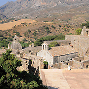 The ruins of the ancient lower Monastery of Preveli, Crete, Greece